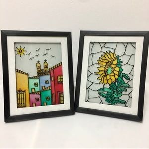 Chintzy Vintage Framed Painted Glass